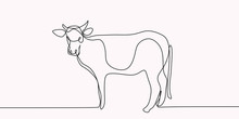Drawing Of A Continuous Line Of Cattle.