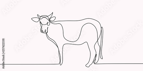 drawing of a continuous line of cattle. - fototapety na wymiar