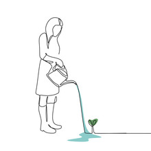 Continuous Line Drawing Of A Woman Watering A Plant.