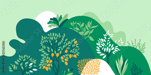 Hilly landscape with trees, bushes and plants. Growing plants and gardening. Protection and preservation of the environment. Earth Day. Vector illustration. - 257623100