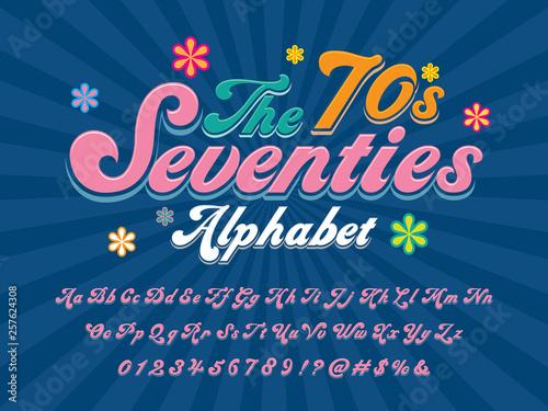 Fényképezés A groovy hippie style alphabet design