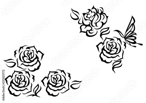 トライバルのデザイン。バラの花。ファッションタトゥー。ステッカー。 #257625772