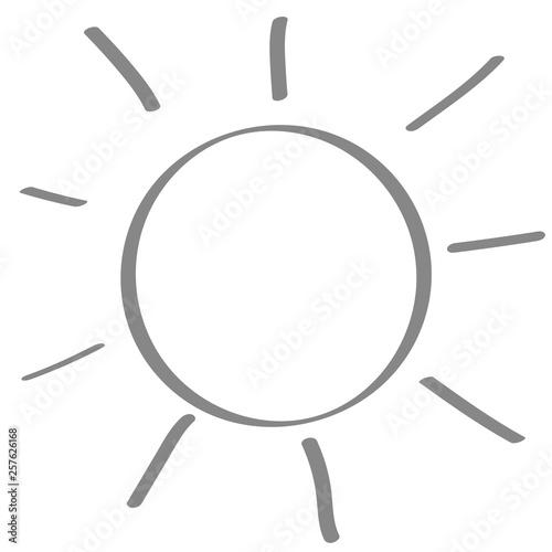 Fotografie, Obraz  Handgezeichnete Sonne in grau