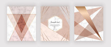 Modern Geometric Design, Triangular Shapes And Golden Lines On The Marble Texture. Background For Wedding Invitation, Greeting, Banner, Flyer, Poster, Save The Date, Card