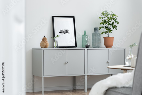 Valokuva  Home interior with gray sideboard