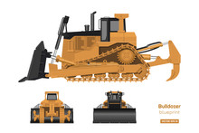 Bulldozer In Realistic Style. ...