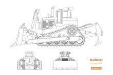 Bulldozer In Outline Style. Fr...
