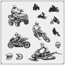 Set Of Motor Sport, Snowmobile, Quad Bike Illustrations. Motocross Jumping Riders, Moto Trial, Freestyle And Racing. Print Design For T-shirt And Sport Club Emblems And Dedign Elements.