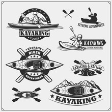 Kayak And Canoe Emblems, Labels, Badges And Design Elements. Vector Set Illustration. Print Design For T-shirts.