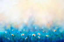 Spring Painting Forest White Flowers Primroses On Beautiful Sunny Background Macro. Blurred Gentle Sky-blue Background. Floral Nature Background, Free Space For Text. Romantic Soft Gentle Artistic