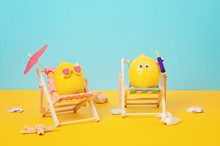 Lemon In Sunglasses In The Sunbed With Umbrela At The Beach
