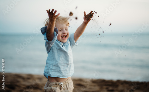 Fotografia  A small toddler boy standing on beach on summer holiday, throwing sand
