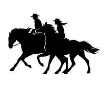 Horseback Cowboy And Cowgirl -...
