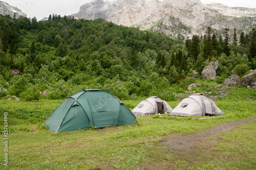 Fotografie, Obraz  Tents near the  Mount Fisht, Russia, North Caucasus