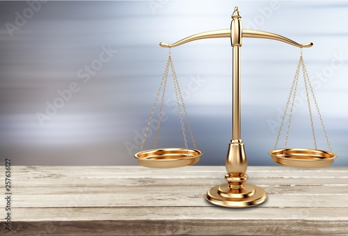 Foto auf Leinwand Indien Law scales on table background. Symbol of justice