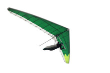 Green Hang Glider Wing Isolated On White.