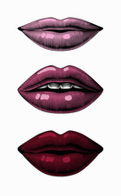 Female Sexy Lips. Vintage Engraving Stylized Drawing. Vector Illustration