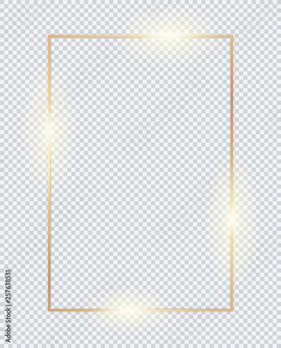 Fotografie, Obraz  3D vertical golden frame