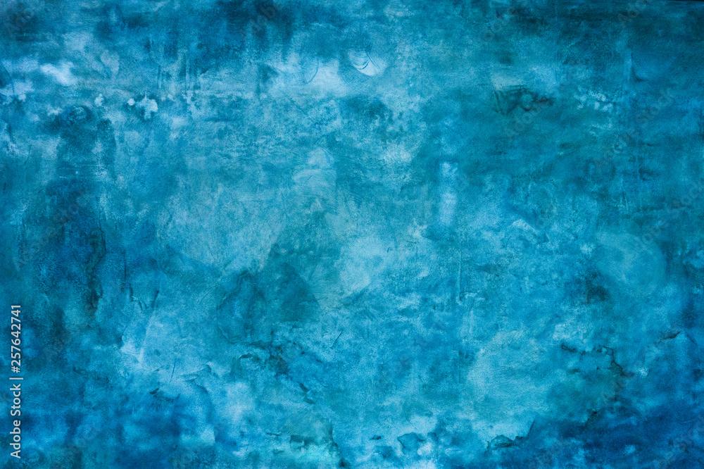 Fototapeta Grunge blue painted wall texture background.