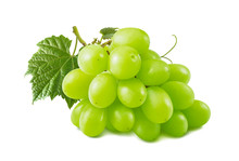 Single Green Grapes Bunch Isolated On White Background