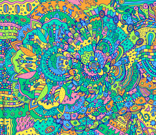 Fotomural Abstract psychedelic boho doodle background