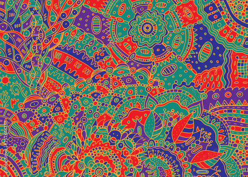 Fotografía  Abstract psychedelic boho tribal colorful doodle background
