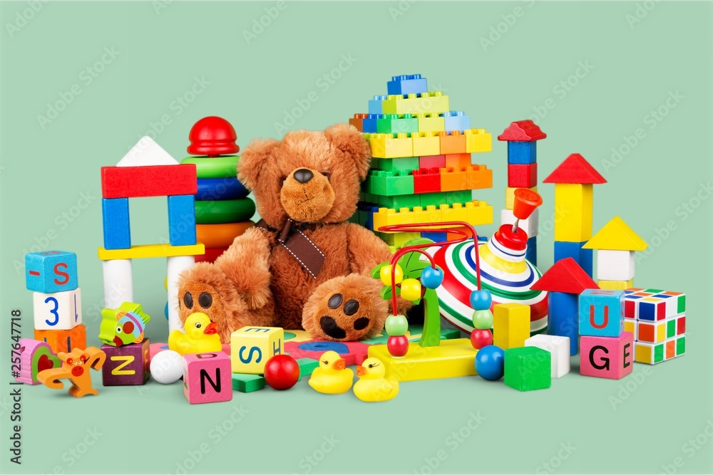 Fototapety, obrazy: Toys collection isolated on white background