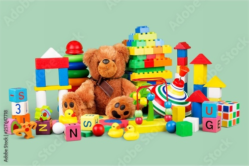 Fototapeta Toys collection isolated on white background