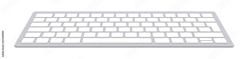 Fototapeta Modern aluminum computer keyboard isolated on white background. Vector illustration.