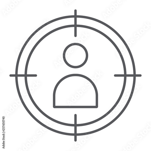 Cuadros en Lienzo People target thin line icon, targeting and focus, person in aim sign, vector graphics, a linear pattern on a white background