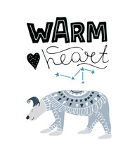 Cute Polar Bear. Vector Illustration In Hand Draw Style
