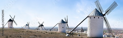 Traditional windmills in La Mancha, Spain