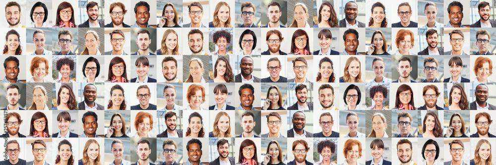 Fototapety, obrazy: Panorama Portrait Collage von Geschäftsleuten