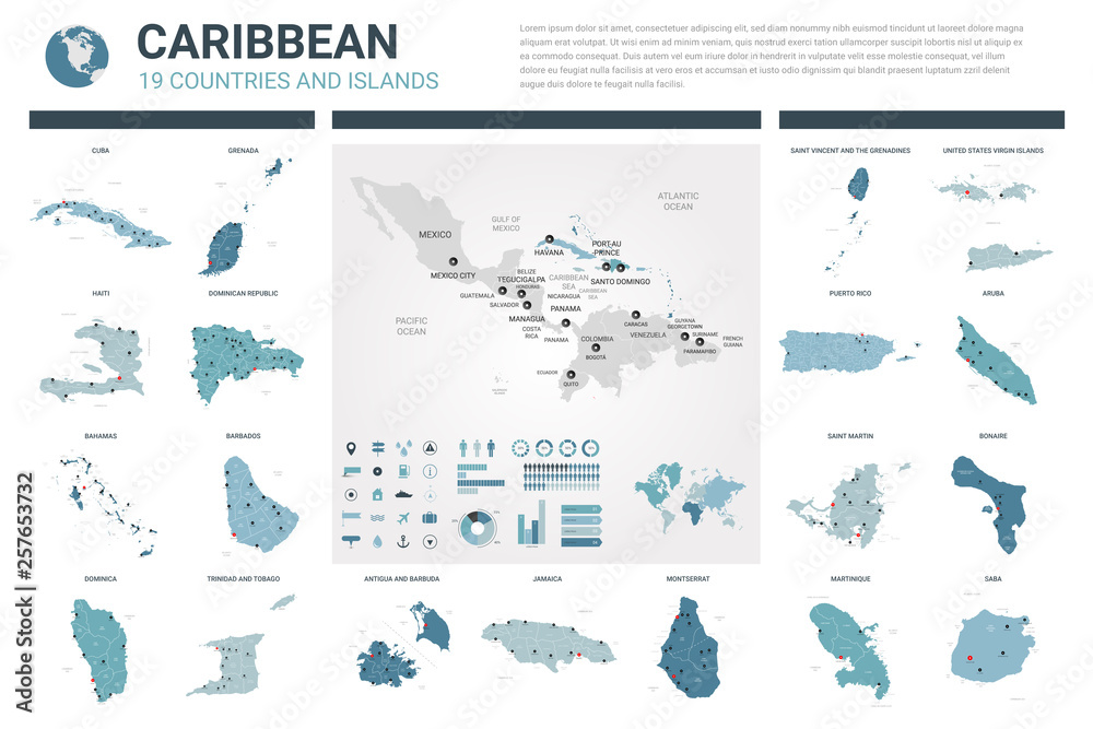 Fototapeta Vector maps set.  High detailed 19 maps of Caribbean countries with administrative division and cities. Political map, map of Caribbean region, world map, globe, infographic elements.