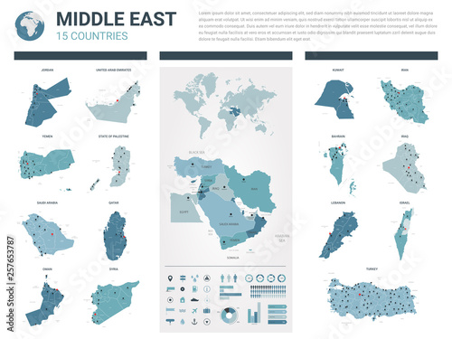 Vector maps set. High detailed 15 maps of Middle East countries with administrative division and cities. Political map, map of Middle East region, world map, globe, infographic elements.