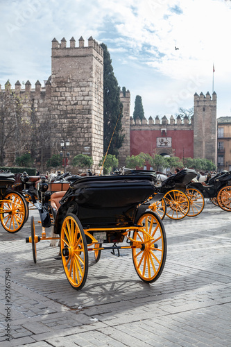 Fototapety, obrazy: Horsedrawn carriages outside the Real Alcazar in Seville