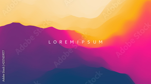 Fototapeta Landscape with mountains and sun. Sunrise. Mountainous terrain. Abstract background. Vector illustration. obraz
