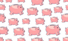 Piggy Banks Seamless Background, Backdrop For Financial Business Website Or Economical Theme Ads And Information, Piggybank Savings, Vector Wallpaper Or Web Site Background.