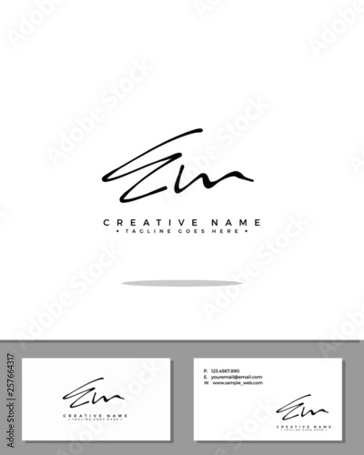 E M EM initial handwriting logo template vector Wallpaper Mural