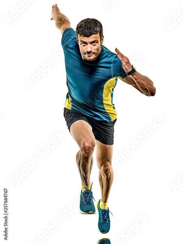Obraz na plátně  one caucasian handsome mature man running runner jogging jogger isolated on whit