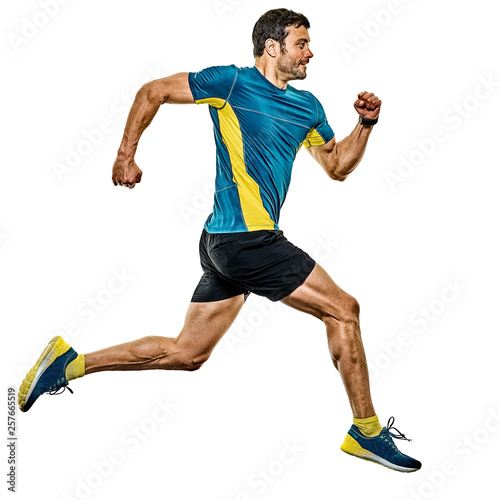 Fotomural one caucasian handsome mature man running runner jogging jogger isolated on whit