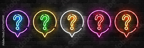 Fotografie, Obraz  Vector set of realistic isolated neon sign of Question logo for template decoration and covering on the wall background