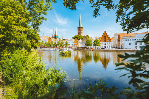 obraz dibond Historic city of Luebeck with Trave river in summer, Schleswig-Holstein, Germany