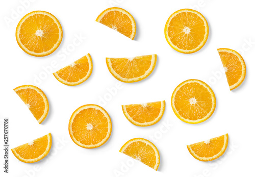 Fotografie, Obraz  Orange slices isolated on white background. Top view.