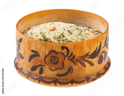 side view of wooden salt cellar with flavored salt Wallpaper Mural