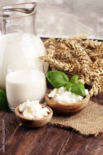 milk products  tasty healthy dairy products on a table  sour