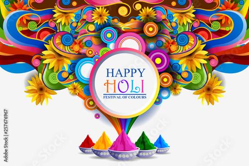 Fotografie, Obraz  easy to edit vector illustration of Colorful Happy Hoil background for festival