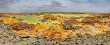 Panorama Of The Dallol Volcano. The Volcano Is Known For Its Extraterrestrial Landscapes Resembling The Surface Of Io, The Satellite Of The Planet Jupiter.