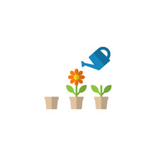 Watering Can And Flower Pot In Growing Stages Vector Cartoon Clipart. Business Growth Concept Icon Set. Water Can And Plant In A Pot Care Concept Illustration.