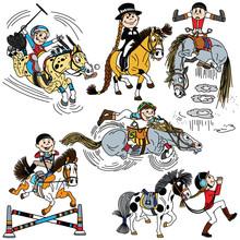 Set Of Cartoon Child Riding A ...
